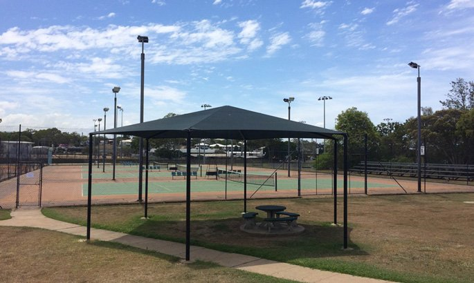 shade sale at Gladstone Tennis and Squash Club